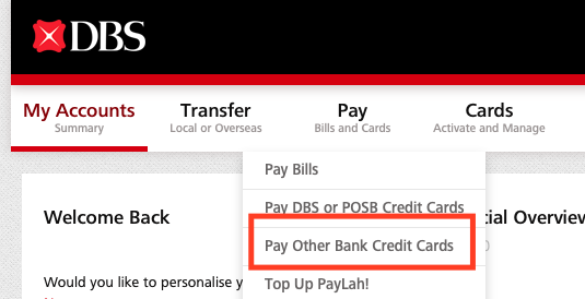 how to pay other bank credit card
